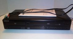 Samsung DVD-V5650B Dual DVD VCR Combo No Remote Tested Works Great With Manual  #Samsung