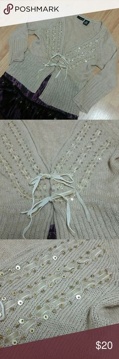 1 hr. Sale! Embellished Loose knit Cardigan Pretty sweater with velvet ribbon details and toes as well as sequin and bead dedign. Soft and light weight NWOT. Mixit Sweaters Cardigans