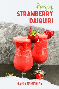 The Daiquiri is a classic rum cocktail that has led to tons of variations like this Frozen Strawberry Daiquiri. Made with fresh strawberries and your favourite rum, this is a perfect summer cocktail and comes with a sugar-free alternative if you want to cut your sugar intake! Daiquiri Cocktail, Cocktail Drinks, Cocktail Recipes, Drink Recipes, Frozen Strawberry Daiquiri, Frozen Strawberries, Refreshing Summer Drinks, Summer Cocktails, Vodka Cocktails