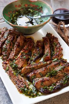 craving-nomz:  Spicy Grilled Steak with Parseley Sauce