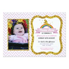 Unicorn Birthday Photo Party Invite Gold glitter Unicorn Photo Birthday invite, perfect for any age kid's birthday, garden party, etc. Simply change the text to suit your party. Back print included. Fun birthday party invites - customize your invitations. Unicorn Photos, Unicorn Birthday Invitations, Custom Invitations, Invites, Chip Bags, Birthday Photos, White Envelopes, Gold Glitter, Rsvp