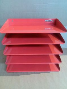 60s 70s #bisley red metal wall-mountable #filing trays - retro #vintage mid-centu,  View more on the LINK: http://www.zeppy.io/product/gb/2/262111718633/