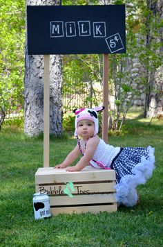 Baby Girl photo ideas, 9 month old photo ideas, Got Milk, Crochet hat, pettiskirt photos, cute baby, Bubble Toes Photography