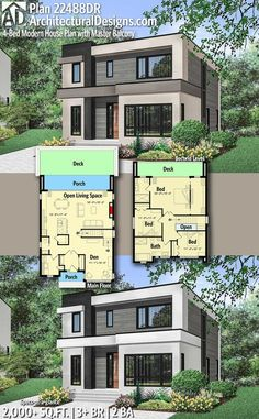 Plan Modern House Plan with Master Balcony Architectural Designs Modern Home Plan gives you 3 bedrooms 2 baths and over 2000 sq ft of heated living space Ready when you are Where do. Modern House Plans, Modern House Design, New Modern House, Contemporary Garage Doors, Modern Contemporary House, Casas The Sims 4, Casas Containers, Main Door Design, Home Design Plans
