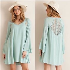 HELEN dress w/ lace detail - SAGE Solid trumpet sleeve A-line dress featuring lace detailing throughout. Non sheer. Fully lined. Woven. Light weight. 100%RAYON Bellanblue Dresses Long Sleeve