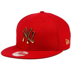 New Era New York Yankees League O'Gold 9FIFTY Snapback Cap ($40) ❤ liked on Polyvore featuring men's fashion, men's accessories, men's hats, red, mens caps and hats, mens baseball hats and mens snapback hats