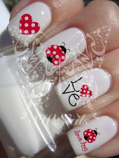 Nail Art Ladybug Ladybird Lovebug Red Heart Nail Water Decals Transfers Wraps