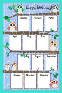 Can you tell I like owls? This x owl birthday chart will look super cute hanging on your classroom wall, bulletin board or poste. Birthday Chart Classroom, Birthday Bulletin Boards, Owl Theme Classroom, Birthday Charts, Birthday Wall, Classroom Walls, Birthday Board, Classroom Ideas, Kindergarten Classroom Decor
