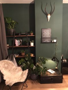Urban jungle reading nook with green wall and monstera Bedroom Green, Home Bedroom, Home Living Room, Jungle Bedroom, Loft House, Bohemian Living, Reading Nook, Interior Inspiration, Room Decor