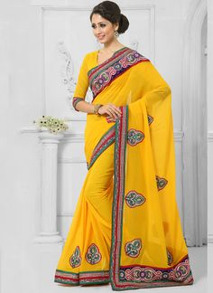 http://www.sareebuzz.com/sarees/aspiring-yellow-patch-border-work-designer-saree-9408  Aspiring Yellow Patch Border Work Designer Saree  Item Code: : 9408  Color : Yellow  Occasion : Festival Reception  Fabric : Faux Chiffon  Work : Embroidered Patch Border  For Inquiry Or Any Query Related To Product, Contact :- +91 9974 111 22