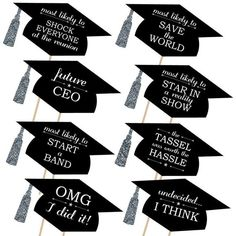 Big Dot of Happiness Silver - Hilarious Graduation Caps - Graduation Photo Booth Props Kit - 20 Count Funny Graduation Caps, Graduation Diy, Graduation Photos, Graduation Sayings, Graduation Desserts, Graduation Stickers, Graduation Centerpiece, Graduation Party Planning, Graduation Party Supplies