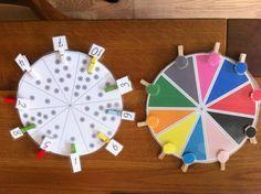Montessoriematerial selber machen. Farben- und Zahlenkreis aus dem Internet runderladen, Klammern bekleben und was lernen!