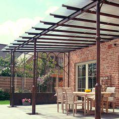 Overkapping terras smeedijzer google zoeken idee luifel pinterest outdoor rooms - Smeedijzeren pergolas voor terras ...