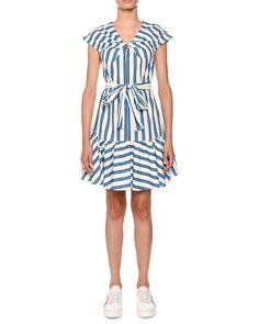 6a5400b0556d MSGM Twist-Front Belted Striped Cotton Shirtdress