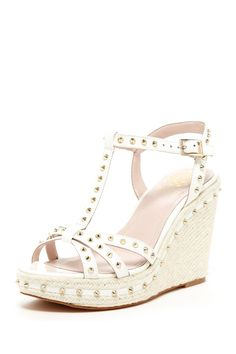 d7e6395f5270 Vince Camuto Tamblyn Studded T-Strap Wedge Sandal Shoes Heels Boots