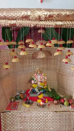 Aarti thali decoration ideas for ganpati g pinterest for Navratri decorations at home