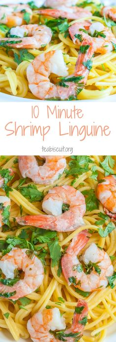 Shrimp Linguine with Cilantro - Cooked from scratch and on your plate in less than ten minutes! |teabiscuit.org