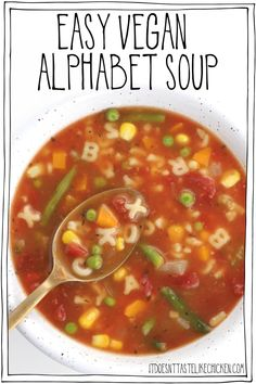 Easy Vegan Alphabet Soup! Healthy homemade soup recipe that's fun to eat! Perfect for lunches or an easy meal. Freezer-friendly. Gluten-free and oil-free options. #itdoesnttastelikechicken #veganrecipes #soup Frugal Meals, Easy Meals, Beef Recipes, Soup Recipes, Alphabet Soup, Vegan Soups, Homemade Soup, Delicious Vegan Recipes, Soups And Stews