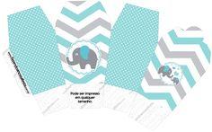 Caixa China in Box Elefantinho Chevron Cinza e Azul Turquesa Kit Festa - Fazendo a Nossa Festa Baby Shower Niño, Baby Shower Parties, Chevron Azul, Eid Cards, Baby Shawer, Elephant Baby Showers, Digital Scrapbook Paper, Party In A Box, China