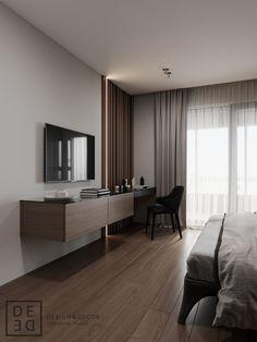 Interior Design on Behance Master Bedroom Interior, Bedroom Bed Design, Modern Bedroom Design, Small Room Bedroom, Home Decor Bedroom, Hotel Room Design, Design Room, Minimalist Bedroom, Apartment Interior