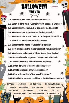 The given list of Halloween trivia question and answers would help you out in making your Halloween games more informative and full of fun. Halloween Trivia Questions, Halloween Fun Facts, Trivia Questions For Kids, Quiz Questions And Answers, Halloween Food For Party, This Or That Questions, Halloween Week, Halloween Carnival, Easy Halloween