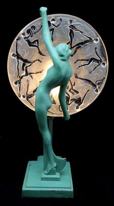 Frankart Art Deco Green Nude Lamp with Consolidated Glass Shade from nhantiquecoop on Ruby Lane