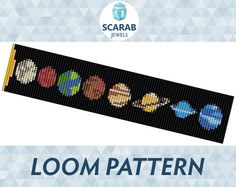 Design your own photo charms compatible with your pandora bracelets. Loom Bead Pattern: Solar System Bracelet / Cuff by ScarabJewels Loom Bracelet Patterns, Seed Bead Patterns, Bead Loom Bracelets, Beading Patterns, Cuff Bracelets, Diy Bracelet, Pandora Bracelets, Solar System Bracelet, Embroidery Bracelets
