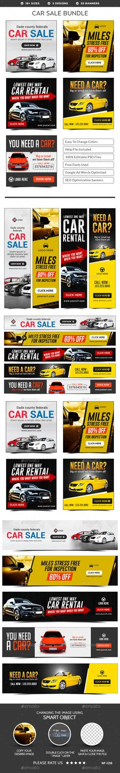 Car Sale Banners Bundle - 5 Sets - 93 Banners Templates PSD. Download here: http://graphicriver.net/item/car-sale-banners-bundle-5-sets-93-banners/15721550?ref=ksioks