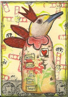 ATC by nayski (Renee Stien) using everyday items as stamps
