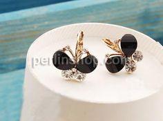 Zinklegierung Hebel Rückseiten Ohrring, mit Acryl, Schmetterling, goldfarben plattiert, mit Strass, schwarz, frei von Nickel, Blei & Kadmium, Schmuck