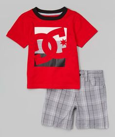 Look at this #zulilyfind! Red Logo Tee & Gray Plaid Shorts - Infant, Toddler & Boys by DC #zulilyfinds