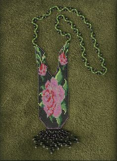 floral rose beaded necklace, basket weave, loom style