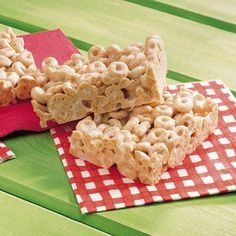 Cheerios Marshmallow Cereal Bars. Would probably taste great with chocolate chips or apples added in.