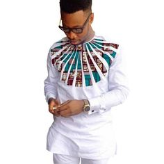 White African Shirt Ankara Print Dashiki Shirt Patchwork