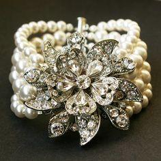 Vintage Style Bridal Bracelet, Ivory White Pearl Wedding Bracelet, Victorian Wedding Bridal Jewelry, Antiqued Silver Bracelet, MIRABELLE