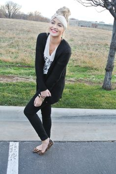 Top - Victoria Secre | Pants - Urban Outfitters | Cardigan - Gap | Shoes - Steve Madden | Headband - Lemons & Lace | Bow Necklace - Hello Fab | Bow Ring - Hello Fab  | Bracelets -Apple Of My Eye  | Quartz Ring - The Oxford Trunk