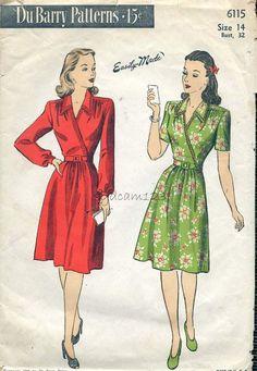 Du Barry 6115 Vintage Pattern Wrap Dress Flared Skirt by 1940s Dresses, Vintage Dresses, Vintage Outfits, Women's Dresses, Vintage Clothing, 1940s Fashion, Vintage Fashion, Patron Vintage, Circle Dress