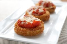 Yum! This Fried Italian Eggplant with Jovial Tomato Compote & Fontina Cheese recipe is amazing. You can make these with einkorn breadcrumbs! #einkorn #einkornappetizer #organictomatoes