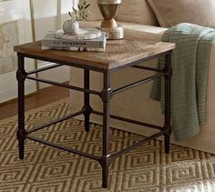 "Parquet Reclaimed Wood Side Table | Pottery Barn $499 23.5"" x 23.5"""