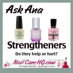 Ana looks at the 3 most popular nail strengtheners on the market; OPI Nail Envy, Nailtiques, and Duri Rejuvacote. Do they help or hurt? http://www.NailCareHQ.com/NailStrengtheners