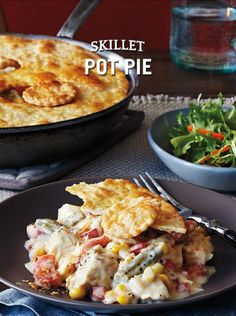Carrots, corn and green beans are mixed with leftover turkey or chicken and a creamy sauce for a comforting yet quick dinner classic. It's cleverly topped with a pre-baked piecrust just before serving from the skillet.