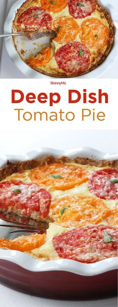 Deep Dish Tomato Pie is a fresh and savory dish that's perfect for summer barbecues, work luncheons, or outdoor potlucks.