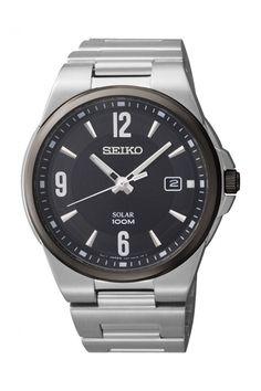 Reloj Seiko Solar de hombre, en acero y bisel negro SNE211P1 - Joyería Relojería Miguel