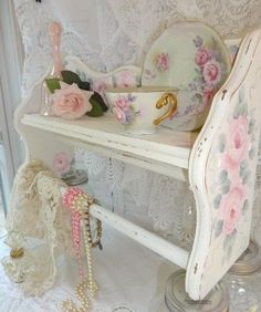 IT'S A BEAUTY SHELF w BAR  hp shabby rose chic vintage cottage OOAK hand painted #WOOD