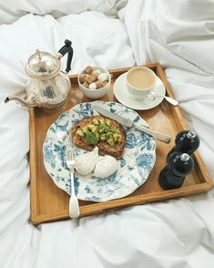 BREAKFAST IN BED: Poached eggs and avocado on toast is Ted's morning treat inspiration.