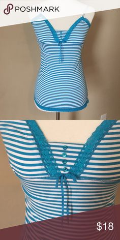 AE tank top So pretty! American Eagle blue and white striped tank top. Lace, button, and bow accents. Excellent condition. Smoke free home. American Eagle Outfitters Tops Tank Tops