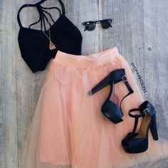 Karlie Tulle Skirt - Peach