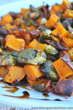 Roasted Brussels Sprouts & Butternut Squash with Balsamic Glaze | The Organic Dietitian