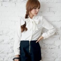 Buy 'BAIMOMO – Long-Sleeve Bow-Collar Chiffon Blouse' with Free International Shipping at YesStyle.com. Browse and shop for thousands of Asian fashion items from Taiwan and more!