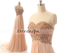 DIYouth.com Handmade Sweetheart Beading Pink Chiffon Prom Evening Dresses Long.Sweetheart bridesmaid dress,long bridesmaid dress,A-line handmade beading chiffon wedding party dress,long prom dress